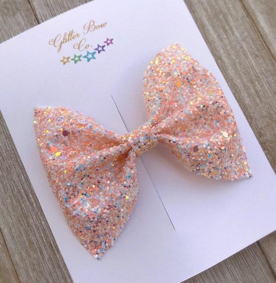 Peach and White Glitter Bow, Headband Option