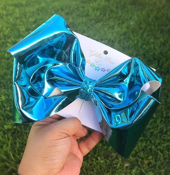 Aqua Blue Mirror Southern Bow,  Jumbo Hair Bow
