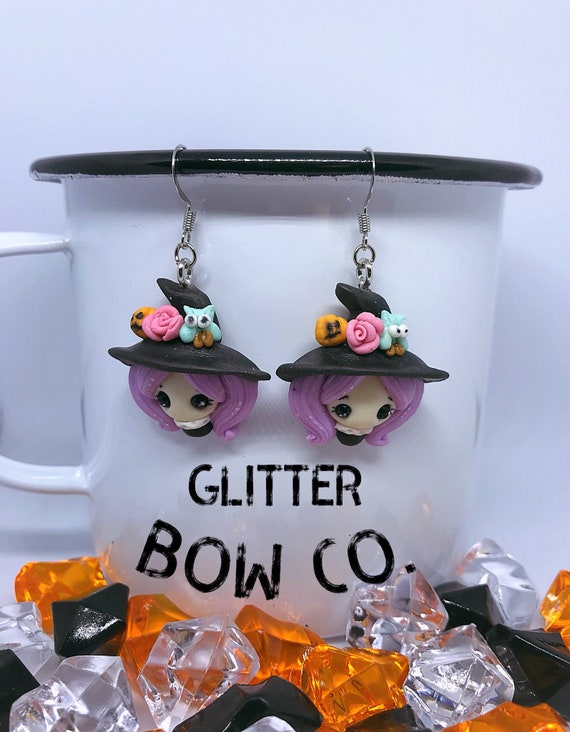 Witch Earrings, Halloween, Lavender Hair, Handmade Polymer Clay, Teen, Adult Woman's Fashion, Unique, Cosplay, Costume, Dress Up, Party