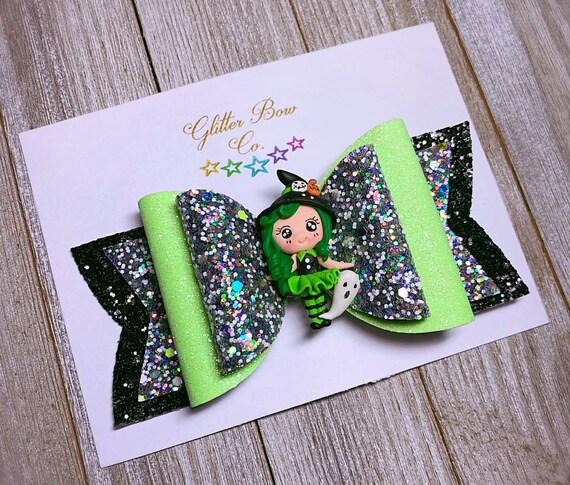 Witch Glitter Bow- Glow in the Dark - Girls Halloween Bow