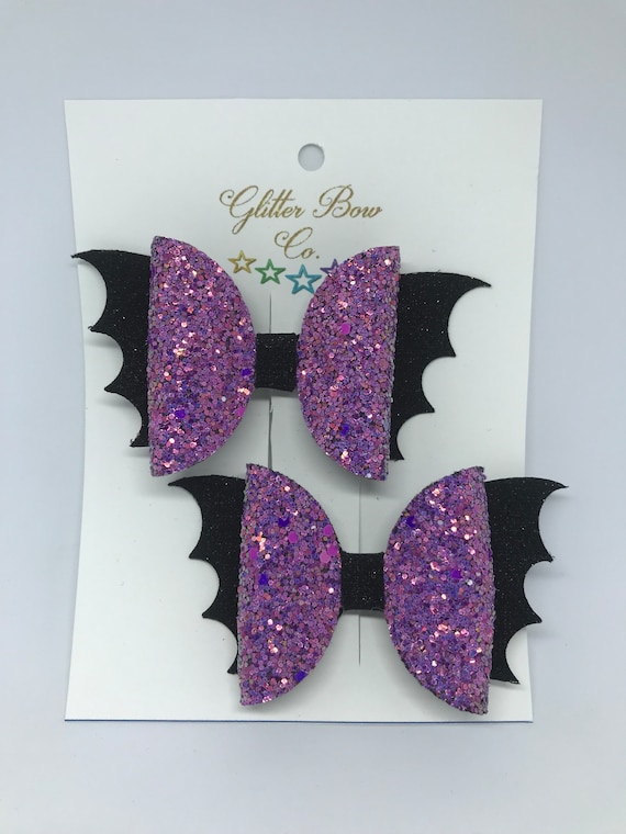 Bat Bow Set, Glitter Vampire Piggies, Halloween Pig Tails, Batty Bow