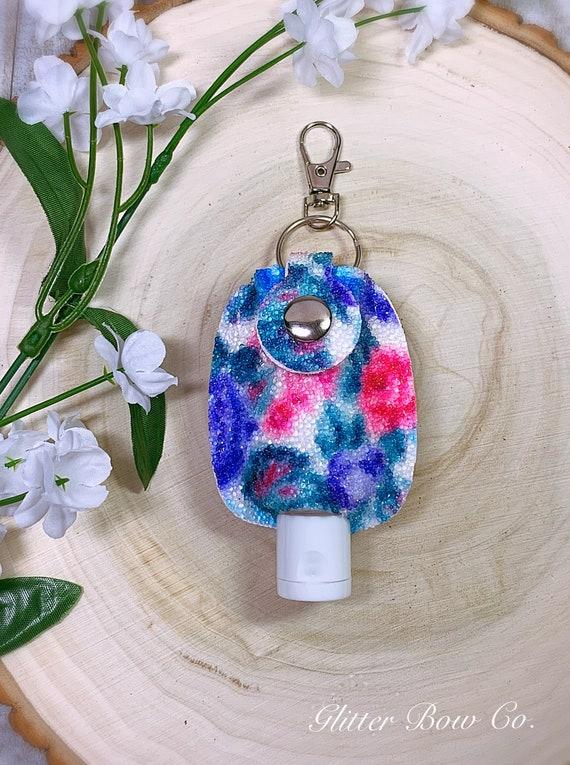 Summer Rose Print Hand Sanitizer Holder - Pink and Blue Roses- Keychain Sanitizer -  Travel Sanitizer Holder - Purse Bling
