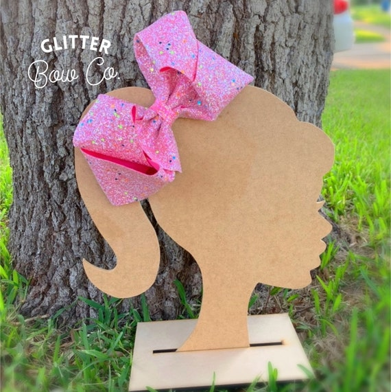 Pink Glow in the Dark Glitter Bow - Jumbo Hair Bow - Halloween Southern Bow
