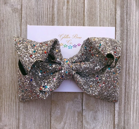 Silver Multi Glitter Southern Bow,  Jumbo Hair Bow, Christmas Bow, New Year's Eve