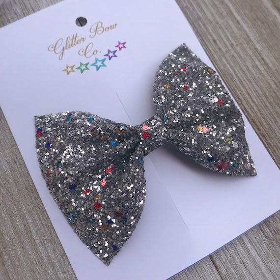 Silver Multi Glitter Bow, Headband Option