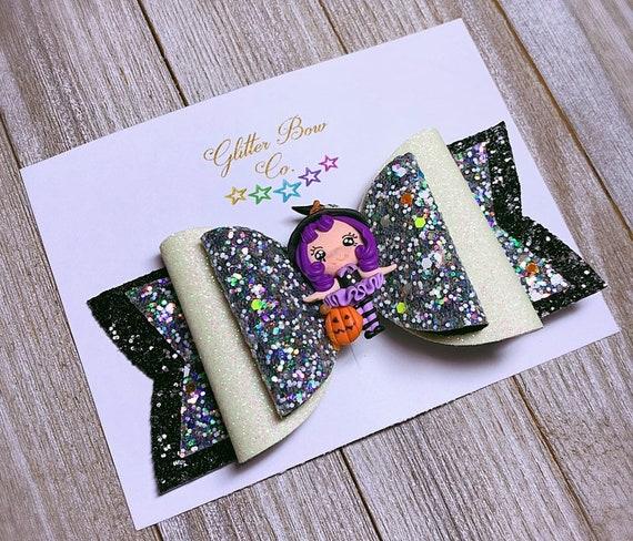 Purple Witch Glitter Bow- Glow in the Dark - Girls Halloween Bow