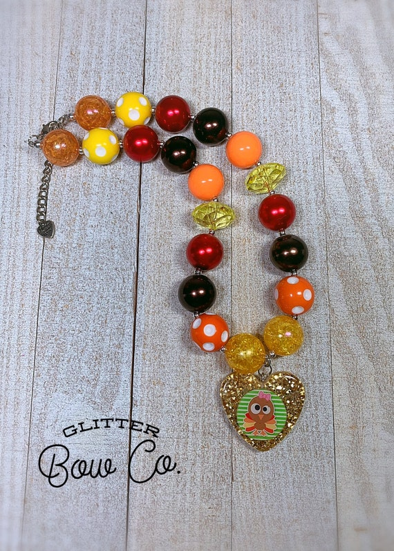 Thanksgiving Bubblegum Bead Necklace - Turkey Day - Chunky Bead Necklace
