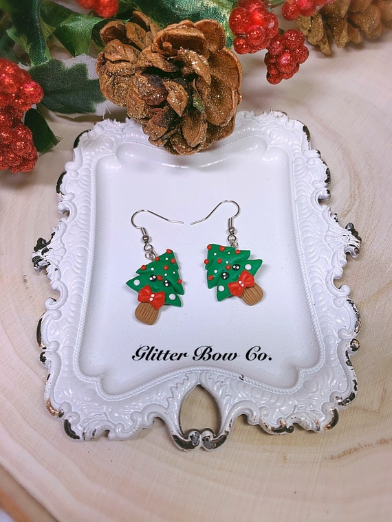 Christmas Tree Earrings, Handmade Clay Earrings - One of a Kind Gift - Unique