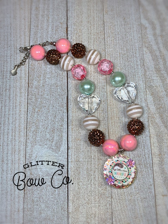 Thanksgiving Bubblegum Necklace - Turkey Day- Little Miss Thankful - Chunky Bead Necklace