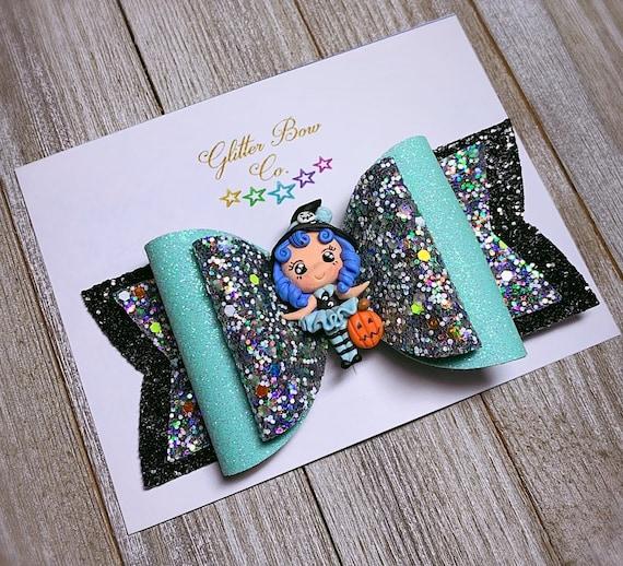 Blue Witch Glitter Bow- Glow in the Dark - Girls Halloween Bow