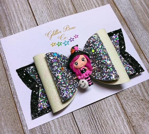 Pink Witch Glitter Bow- Glow in the Dark - Girls Halloween Bow
