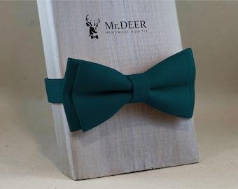 e0ce66492dab MD243 - Dark Pine Green Linen Bow Tie - Mens, Grooms, Groomsman, Rustic,  Bohoo, Wedding Bow Tie, Present for Him, Mr.DEER