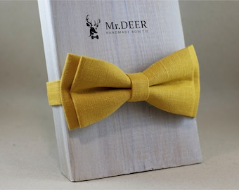 MD204 - Mustard Yellow Natural Linen Bow Tie - Ready Tied, Mens, Grooms, Groomsman, Rustic, Bohoo, Wedding Bow Tie, Gift for Him, Mr.DEER