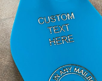 Custom Retro Motel Key Fob, YOUR CUSTOM TEXT