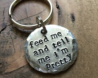 Feed Me Pet ID Tag, Dog Tag, Hand Stamped Pet Tag