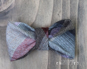 Upcycled MEDIUM Wool Rose Plaid Dog Bow Tie, dog collar accessory, slide on collar accessory, dog bows, pet bow tie