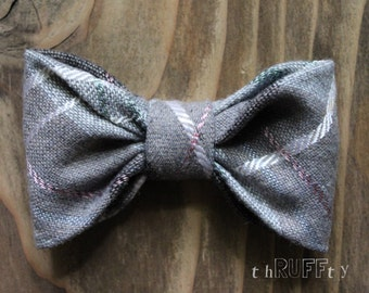 Pastel Plaid LARGE Wool Dog Bow Tie, dog collar accessory, slide on collar accessory, dog bows, pet bow tie, Upcycled