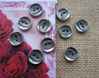 Set di 6 x 15mm argento filigrana a cupola Shank Pulsanti-Cappotto Giacca Blazer Da Cucire