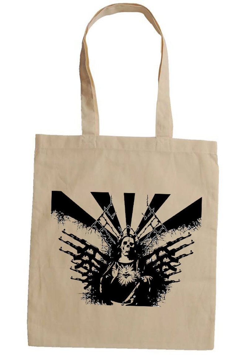 Holy Mary death and guns 100/% organic cotton shopping shoulder tote bag