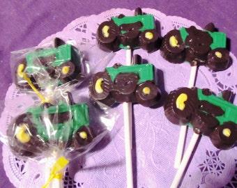 Tractors Farm Vehicles chocolate lollipops 12