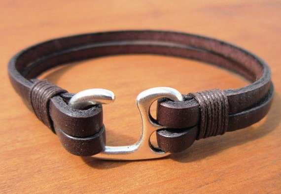 friendship couples bracelet Silver and Leather mens bracelet men cuff bracelet handmade silver mens jewelry unique gifts for men