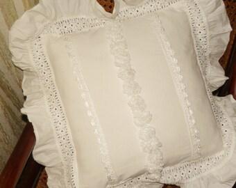 White shabby chic pillow
