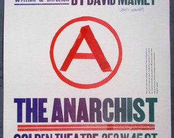 David Mamet THE ANARCHIST poster for Broadway play