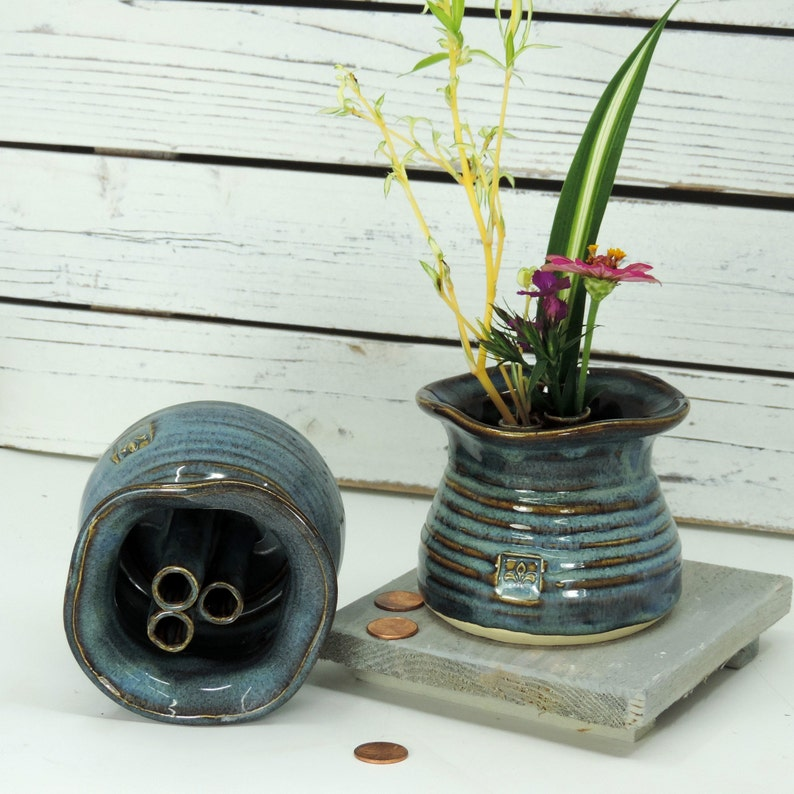 Ikebana Vase  Bud Vase  Blue Glaze   Free Shipping Vase  image 0