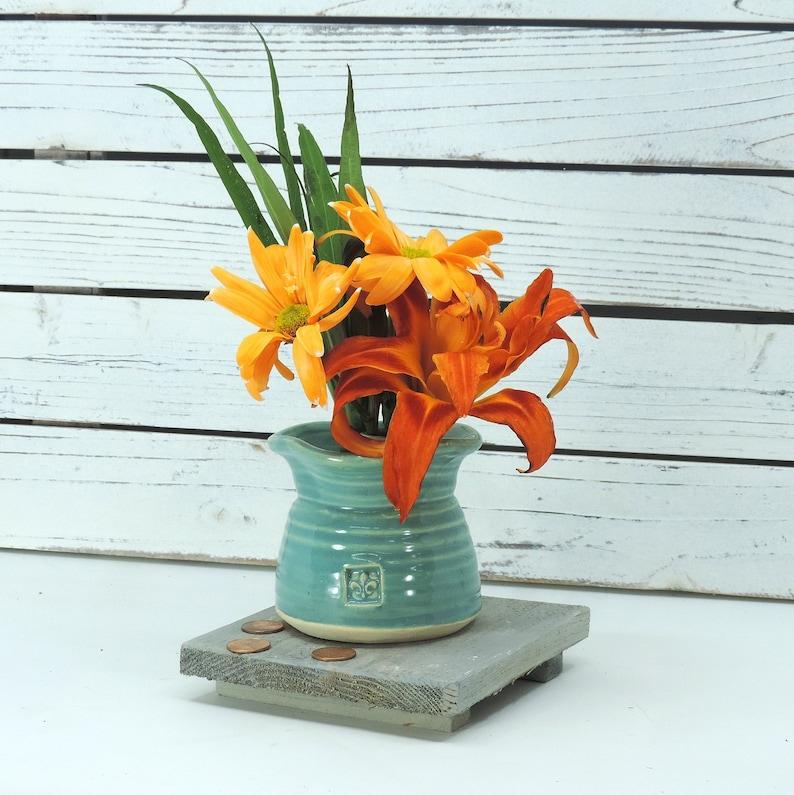 Ikebana Wish Bowl  Turquoise Glaze  Free Shipping Bud image 0