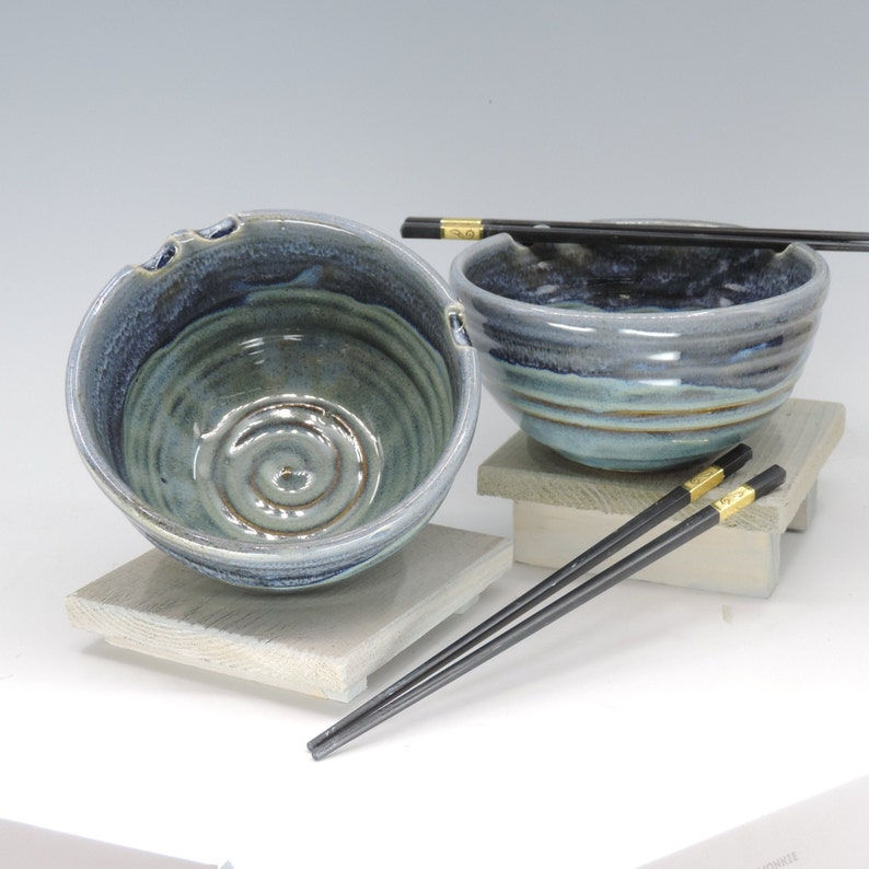 Noodle Bowls Set of Two Blue Glaze. Japanese Ramen Bowls image 0