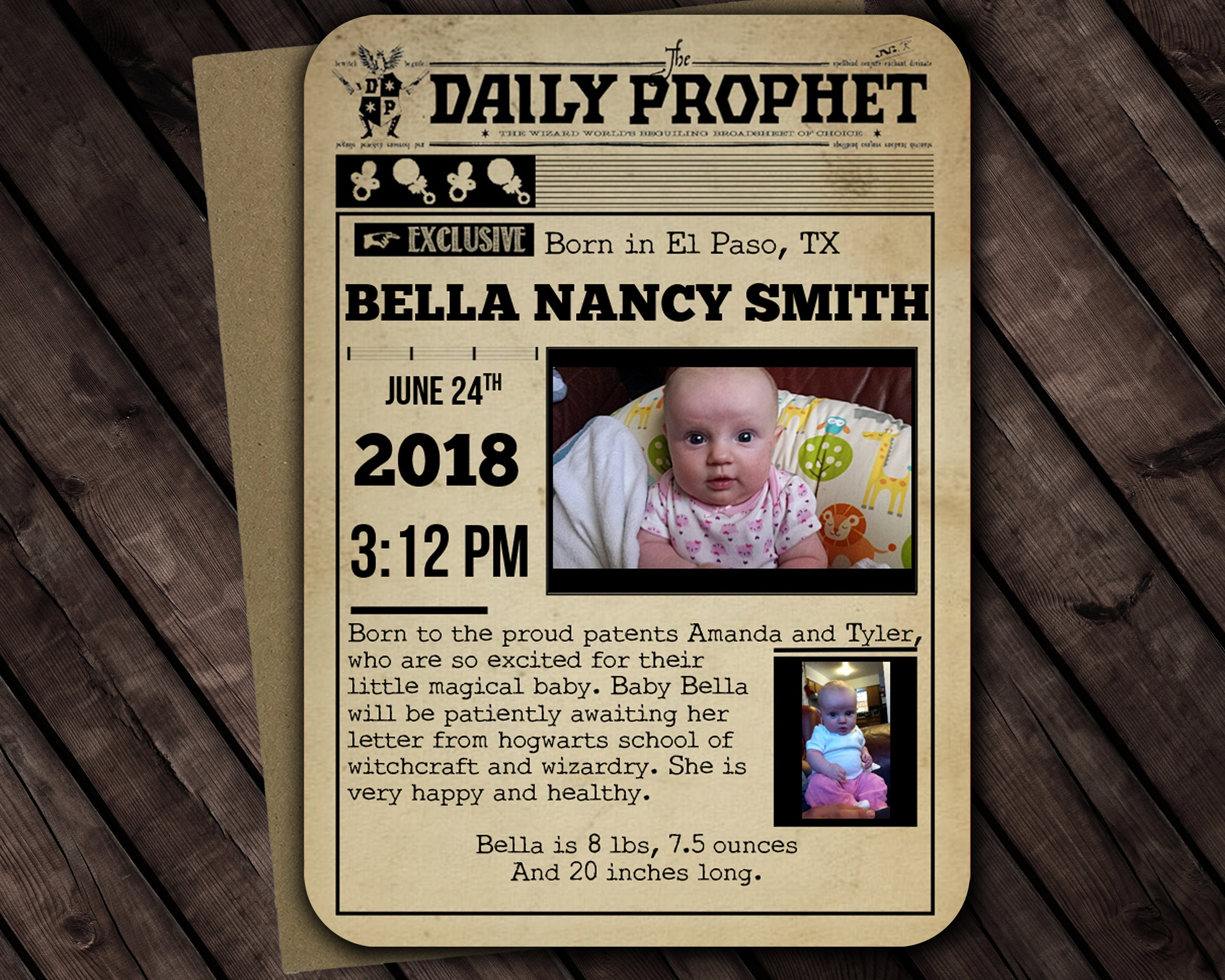 Harry Potter Inspired Birth Announcement Template Microsoft Etsy