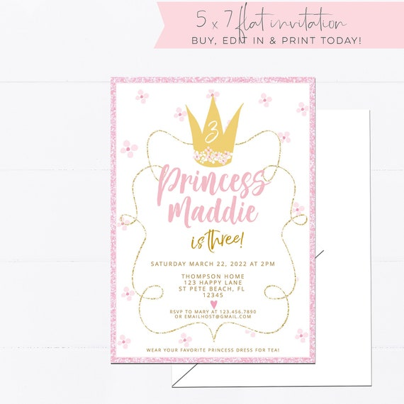 Princess Birthday Invitation Template 2