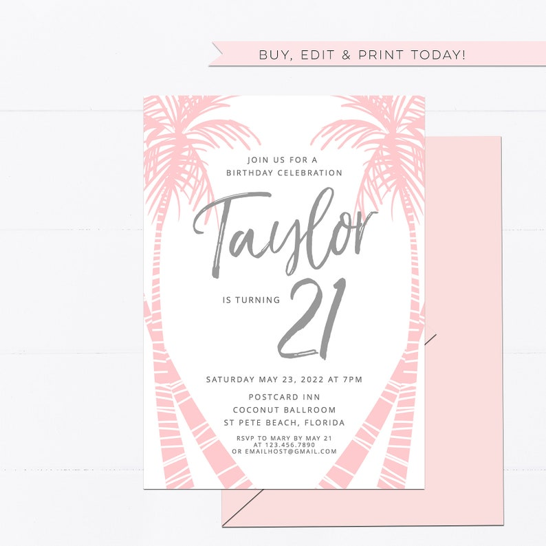 printable 21st editable invite Graduation Open House 25th Tropical Palm Birthday invitation template Templett pink palm trees