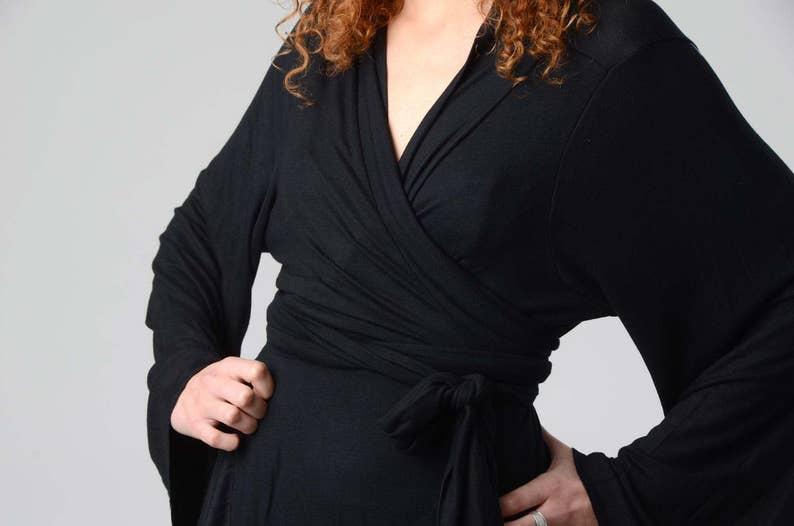 57063dba99b Women's Kimono Cardigan, Black KimonoTop, Wrap Tunic Top, Long Bell Sleeves  Top, Japanese Kimono, Boho Kimono, Boho Chic Wrap Top, Sexy Top
