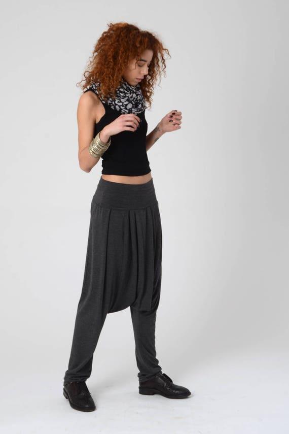 Harem Pants Grey, Drop-Crotch Pants, Burning Man Pants, Women Harem Pants, Gray Men Harem Pants, Boho Unisex Fall Harem Pants, Plus size