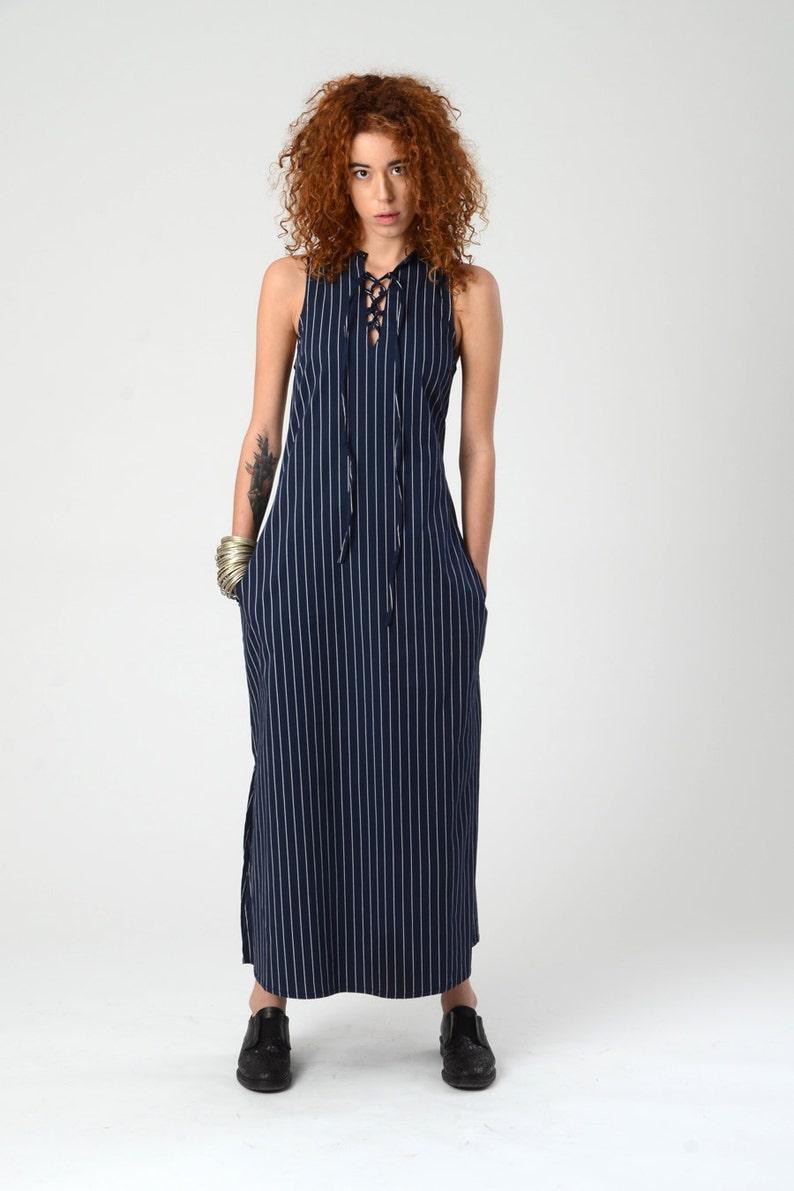 8ba52a698ab6 Maxi Navi blu strisce abito Sexy Boho Maxi Dress estate Blue