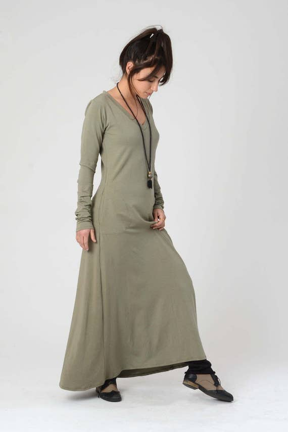 V Neck Dress Green Maxi Dress Kurta Dress Women s  74c8a0c63