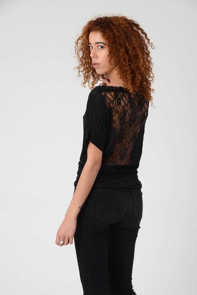 ed30510bb67c Woman s Lace Open Back Top Black Off Shoulder Blouse