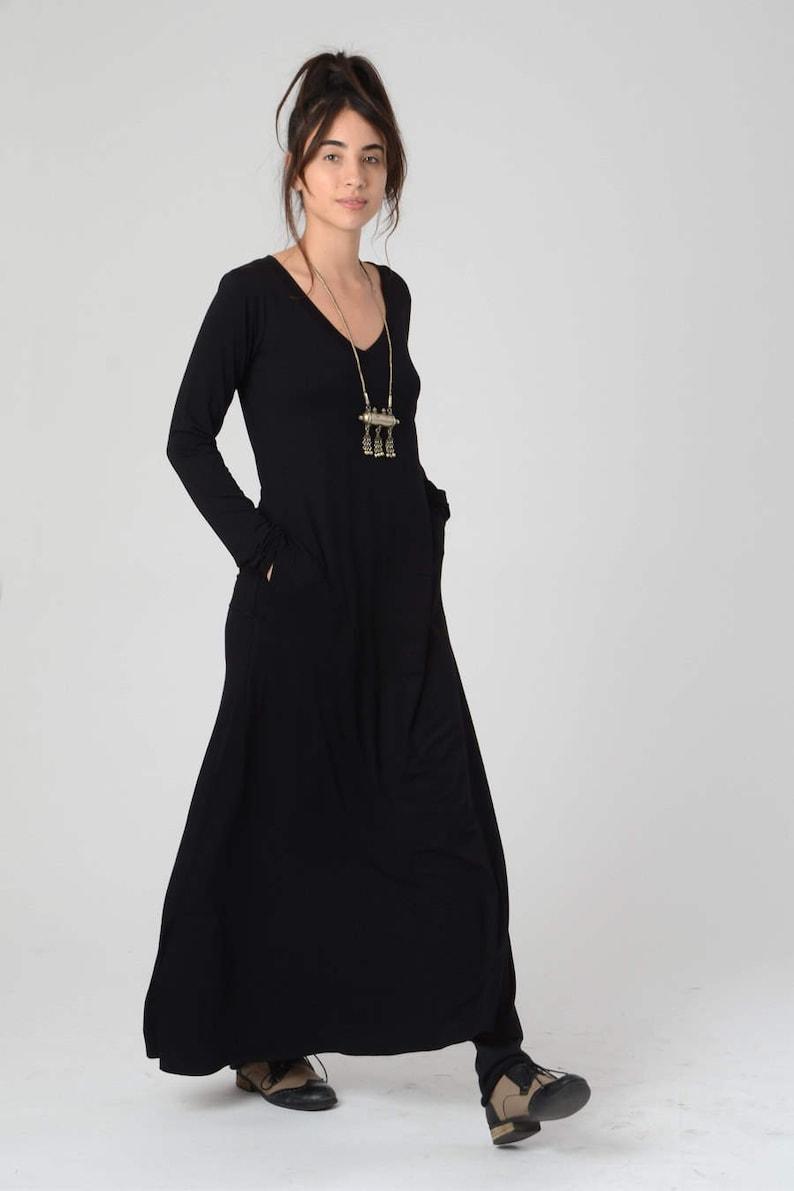7cc4ff414 Black Maxi Dress with Pockets Loose Tribal Festival Dress