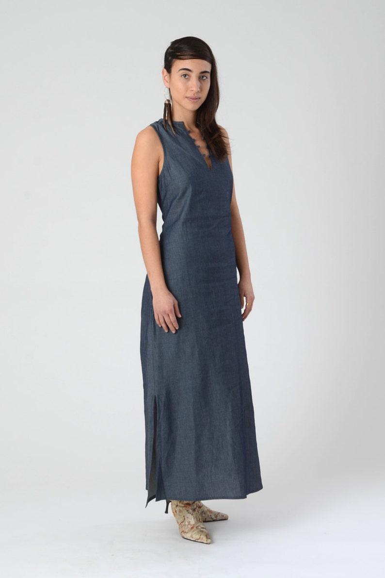 f16e8fb371 Jeans Maxi Dress di donna abito Boho senza maniche con | Etsy