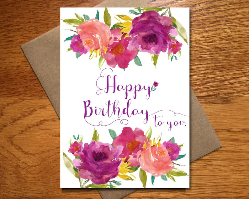 Every Day Spirit / Watercolor Happy Birthday Card For Her / image 0
