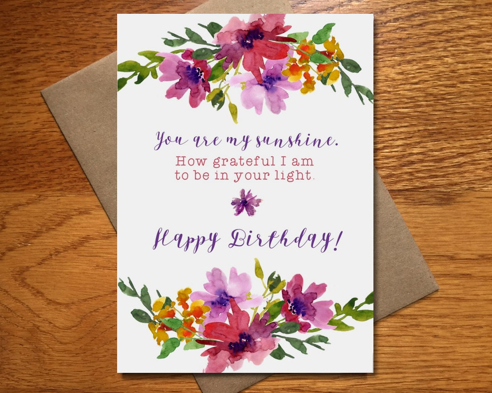 Watercolor Happy Birthday Card For Her Floral Birthday Card Etsy