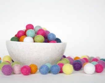 1 cm Felt Balls, Felted Wool Balls, Handmade Wool Felt Balls, Pom Pom Balls - CHOOSE YOUR OWN Colors of Felt Balls