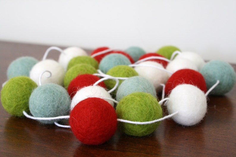Holiday Pom Pom Garland Red Playful Christmas Felt Ball Garland Green Banner Party Decor White and Turquiose