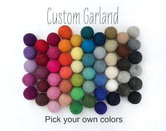 Custom Felt Ball Garland, Design Your Own Baby Shower Pom Pom Garland, DIY Banner, Party Decor