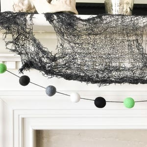 Halloween Felt Ball Garland Green Grey Black And White Banner All Hallows Eve Decoration Ghost Party Frankenstein Deocr
