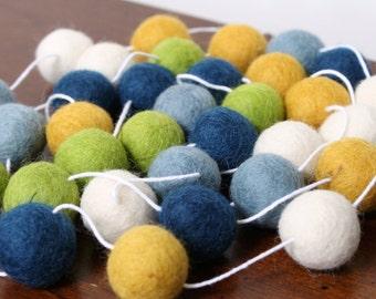 Blue Green and Yellow Boy Nursery decoration, Baby Boy Shower Garland, Felt Ball Garland for Boys Bedroom, Felt Garland, Party Decor
