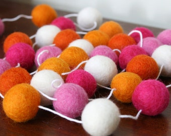 Pink and Orange Baby Shower Decoration, Felt Ball Garland, Birthday Party Garland, You Are My Sunsine Garland, Girl Birthday Party Banner