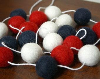 July 4th Decoration, Fourth of July Garland, Felt Ball Garland, Pom Pom Garland, Patriotic Banner, 4th of July Party Decor