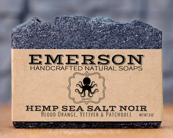 Vetiver & Blood Orange Hemp Sea Salt Noir Charcoal Soap • 100% Natural Vegan Soap, Palm Free Soap, All Natural Soap, Zero Waste, Waste Free